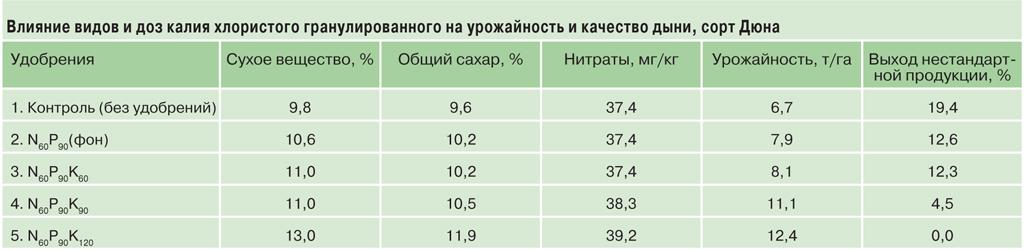 дыня_таблица